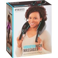 HoMedics Vibration Neck Massager w/ Heat 2 Speed Portable Soft Foam Dual Power
