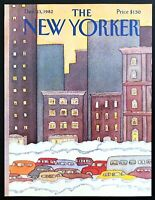 1982 Snowy Christmas Season in the NYC art Dec 13 New Yorker Mag COVER ONLY