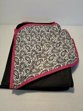 Pampered Chef Foldable Zip Up Black White Paisley Picnic Blanket table cloth
