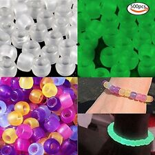 500Pcs Pony Beads Colorful Changing UV Reactive Glow in the dark Hair Braiding