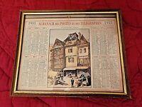 Ancien calendrier 1933-Almanach des Postes et des Télégraphes- cadre sous verre