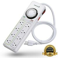 8 Outlet Power Strip 24hr Programmable Timer Surge Protector Mount [ETL Listed]