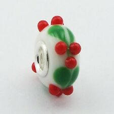 Murano Glass Bead Flowers 15mm High Sterling Silver Core for Charm Bracelet