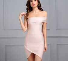 Women's Sexy Strapless One Shoulder Sleeve Bandage Dress Celebrity Party Dress