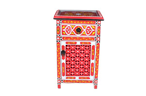 Moroccan Nightstand Table Hand painted Arabic Style Red Glass Top Mediterranean