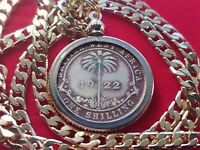 """Rare 1922 British West Africa Shilling Coin Pendant  24"""" 18KGF Gold Filled Chain"""