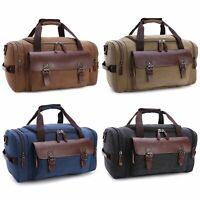 Men Women Leather Canvas Shoulder Bag Carry On Travel Duffle Bag Handbag Luggage