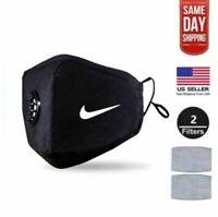 Black Face Mask With PM2.5 Filter Washable Durable Reusable Custom Jordan & Etc