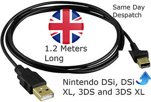 UK For Nintendo DSI XL 2DS 3DS USB Plug Charging Power Charger Cable Lead Wire