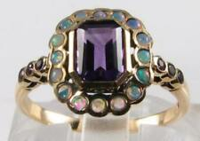 DIVINE 9K 9CT GOLD AFRICAN AMETHYST OPAL ART DECO INS HALO RING FREE RESIZE