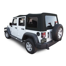 Jeep Wrangler Soft Top for 2010-2017 4DR JK, Tinted Windows, Black Twill