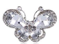 Wedding Clear Crystal Rhinestone Big Butterfly Fashion Jewelry Adjustable Ring