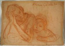 Enoch Hendryk Enrico Glicenstein Original Sketch Drawing Woman & Child Signed
