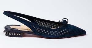 Christian Louboutin Hall Sling Flat Navy Blue Suede Pointed Toe Ballerina 41