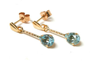 9ct Gold Blue Topaz Teardrop Earrings Short Drop Gift Boxed Made in UK
