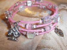 Hand Crafted PINK Cat Eye & Crystal Bead ADJUSTABLE Wrap CHARM Bracelet D-06