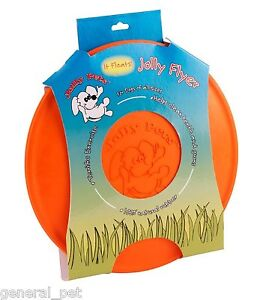 Jolly Flyer Rubber Dog Frisbee 9.5 inch Orange