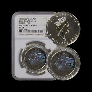2002 Canada 5 Dollars (Silver) - NGC SP68 - Hologram Loon RARE