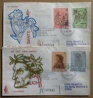 FDC Venetia Vaticano 1965 - Dante Alighieri - 2 raccomandate viaggiate