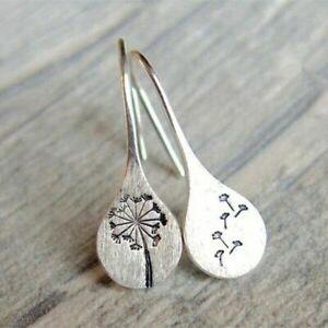 Vintage Simple 925 Silver Dandelion Ear Drop Stud Earrings Women Wedding Jewelry