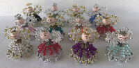 Vintage Safety Pin Beaded Angels Christmas Ornaments (12) Handmade
