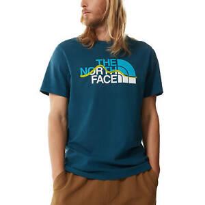 The North Face T-Shirt Da Uomo Mountain Line Blu Taglia S Cod A3G2-BH7 - 9M