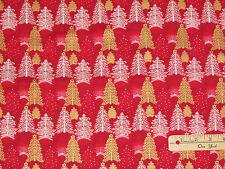 Seasons Greetings 2016 Red Trees Christmas Fabric by the 1/2 Yard #62102