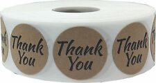 Brown Kraft Thank You Stickers, 1 Inch Round, 500 Labels on a Roll