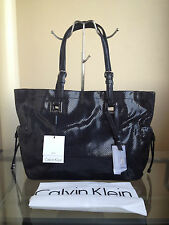 bagsclothesetc: NWT CALVIN KLEIN Large Leather Tote Bag - Black FREE SHIP