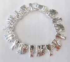 Silver Plated Cat Charm Bracelet With Magnetic Clasp # 5272 Kitty Kitten