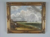 Stunning Vintage Irish Painting Seascape with Boats  Scene Signed M. Millar