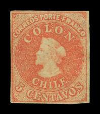 CHILE 1860  COLUMBUS  5c vermilion   Scott # 9d  mint MH VF