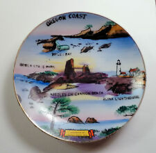 Souvenir Mini Plate CANNON BEACH Oregon Handpainted Scenes Of Beach 1960s
