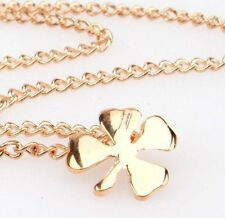 Lucky Four Leaf Clover Necklace 14k Gold Plated Charm Good Luck Pendant Dainty