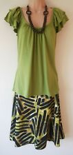 Womens Skirt Top Necklace 3 piece set Size 14 New Ladies Kaleidoscope Green NWT