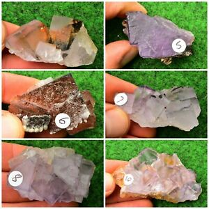Fluorite Purple-White Natural Crystal Mineral Specimen Octahedron Crystal   #B1