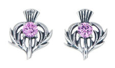 Sterling Silver Thistle Stud Earrings with an October Birthstone Centre