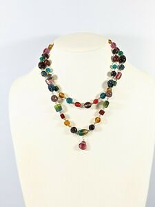 Artisan Silver Tone Colorful Multi Color Glass Bead Two Strand Choker Necklace