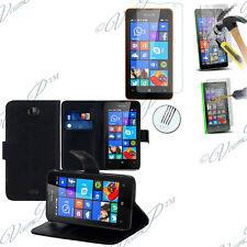 Housse Etui Portefeuille Microsoft Nokia Lumia 430 Dual + 1 Film Verre Trempe
