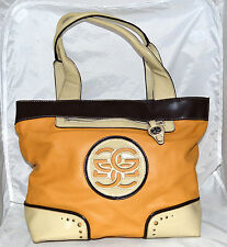 Genna De Rossi Golden Yellow Pebbled Faux Leather with Beige Trim Shoulder Bag