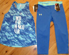 Under Armour patterned logo top & blue cropped capris leggings NWT girls L YLG