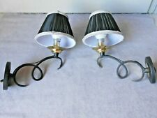 PAIR French vintage  scrolled iron WALL Light SCONCES w/ lamp shades