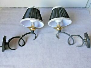 PAIR French vintage iron WALL Light SCONCES w/ shades
