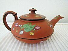Wedgwood enameled Rosso Antico (Capri) teapot, Wedgwood only mark