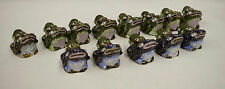 Frogs 13 Items Cloisonne' Assorted China Green Blue Mother Baby Frogs