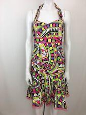 Etcetera Cotton Blend Floral Print Halter Pleated Multi-Color Dress 8