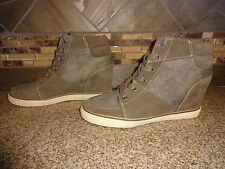 Womens Sz 8/41 American Eagle 2947 Grey Hidden Wedge Lace-up Hi-top Shoes