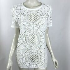 Sundance White Crochet Lace Top Cheer Short Sleeve Scoop Neck Womens Medium