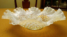 """Large Fenton Glass Hobnail Opalescent Moonstone White Clear Ruffled Bowl 11"""""""
