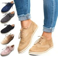 Women's spring leather Oxford Platform Flats lace up Brogues Creeper Shoes Flats